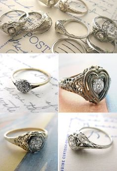 vintage ring with heart