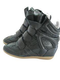 Isabel Marant Wedge Sneakers High Top Leather Punching Black  $172.00