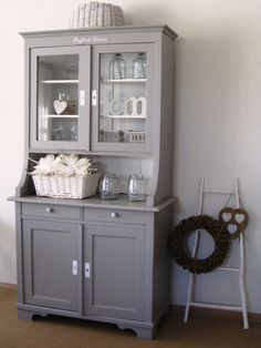Brocante sideboard in riviera gray. Chalk Paint Chairs, Painted Chairs, Paint Furniture, Dining Furniture, Furniture Makeover, Home Furniture, Kitchen Dresser, Home Renovation, Home And Living