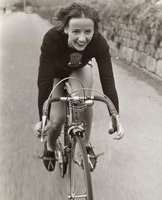 Eileen Sheridan, cycling champion of the 40's and 50's. Love this pic - so full of energy and joy!