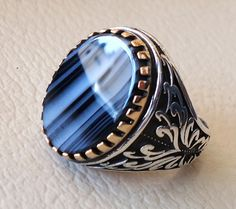 black flat stone sterling silver 925 men ring by AbuMariamJewels