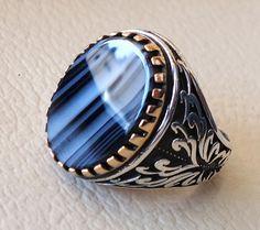 anello di uomini di pietra piatta argento 925 di AbuMariamJewels