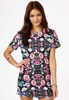 Riko Rose Print Shift Dress - Dresses - Missguided