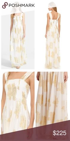 "DVF Lillie Chiffon Maxi Gown Diane von Furstenberg ""Lillie"" full length Maxi gown. Ivory with Gold Metallic Floral pattern. Size 10, Women's. NEW with tags!  •Airy silk chiffon gown punctured by metallic print •Square neckline •Sleeveless •Pleated bodice and skirt •Built-in bra •Lightly boned bodice •Side slit •Concealed back zip •Lined •About 60"" from shoulder to hem •Silk •Contrast: Nylon/spandex •Dry clean Diane von Furstenberg Dresses Maxi"