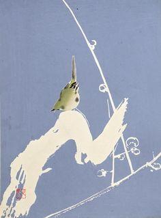 "1934, The original japanese antique woodcut print, ""Bird"", from ""Tansai Gafu""."