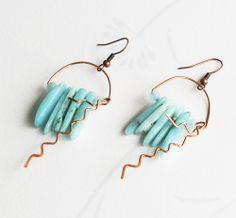 Blue Amazonite Gemstone Bar Chips Copper Wire Wrap Jellyfish Unique Art Earrings #Jeanninehandmade #Wrap