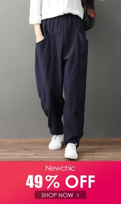 Elastic Waist Pockets Loose Solid Color Casual Pants is necessary for cold weather, NewChic will show cheap trendy women Pants & Capris for you. Trousers Women Outfit, Casual Trouser Outfit, Trouser Outfits, Pants For Women, Clothes For Women, Black Trousers, Cropped Trousers, Trouser Pants, Colored Pants Outfits