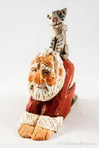 - Original Wood Carvings by David Frykman - Santa with Animals