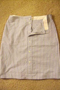 Skirt from a men's dress shirt - tutorial - also, a link to a great waistband tutorial (near the bottom)