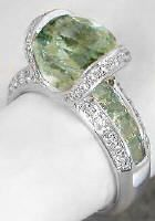 The square cuts go all the way under the center stone...Green Amethyst Engagement Rings (GR-2057)