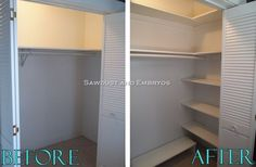 How to build your own Custom Closet Shelving fro Sawdust and Embryos.