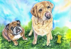 Dog Custom Two dogs pet Watercolor Original by GeorgeWatercolorArt