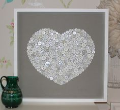 Large white box framed button heart artwork. by pinkbuddhadesigns, £100.00