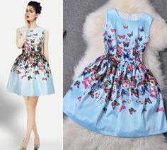 Online Shop RUNWAY LIFE Summer Autumn Women Dress Sky Blue/White Butterfly Print Dresses Sleeveless Short Dresses Ball Gown|Aliexpress Mobile