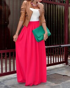 coral maxi + cognac leather jacket