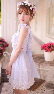 Sweet blue flower lace bow sleeveless princess dress