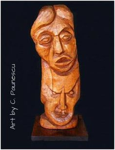 """Eviml and  suffering"" carving wood by Constantin Paunescu"