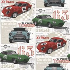Fine Decor Vintage Race Cars Kids Bedroom Wallpaper Red / Green / Blue - Fine Decor from I love wallpaper UK Bedroom Wallpaper Red, Boys Wallpaper, Vintage Car Room, Vintage Race Car, Classic Race Cars, Shops, Embossed Wallpaper, Contemporary Wallpaper, Yurts