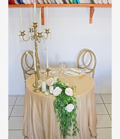 Another idea to dress up your sweetheart table! Romantic Dinner For Two, Romantic Dinners, Wedding Decorations, Table Decorations, Sweetheart Table, Cabo, Event Design, Gold Wedding, Chandeliers