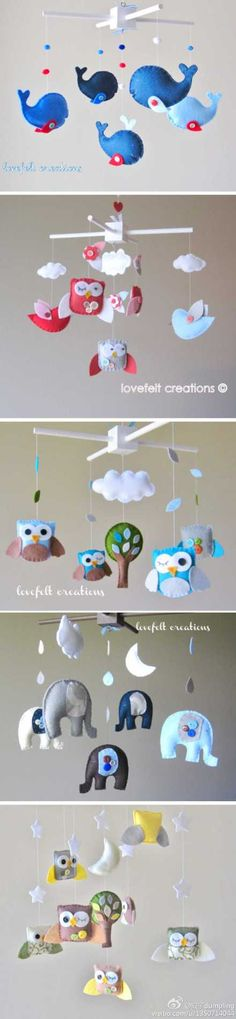 moviles en fieltro para bebé Everyone is apparently making these adorable animal felt mobiles. So many ideas floating around! Baby Crafts, Felt Crafts, Diy And Crafts, Arts And Crafts, Craft Projects, Sewing Projects, Do It Yourself Baby, Felt Mobile, Felt Toys