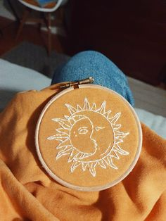 yellow sweatshirt with embroidery of the sun and the moon. Simple Embroidery Designs, Floral Embroidery Patterns, Embroidery On Clothes, Couture Embroidery, Embroidery Fashion, Hand Embroidery Patterns, Diy Embroidery, Embroidery Hoops, Knit Patterns