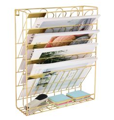 Superbpag Hanging Wall File Organizer, 5 Slot Wire Metal Wall Mounted Document Holder for Office Home, Gold Hanging File Organizer, File Organiser, Door Organizer, Office Wall Organization, File Folder Organization, Folder Holder, Hanging Files, Support Mural, Document Holder