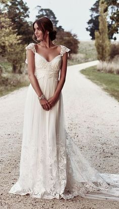"""Anna Campbell 2018 Wedding Dresses — """"Eternal Heart"""" Bridal Collection anna campbell 2018 bridal cap sleeves sweetheart neckline heavily embellished bodice romantic soft a line wedding dress open v back sweep train mv -- Anna Campbell 2018 Wedding Dre Wedding Robe, Wedding Dress Chiffon, Wedding Dress Trends, Best Wedding Dresses, Bridal Dresses, Evening Dresses For Weddings, Beach Dresses, Maxi Dresses, Chiffon Dresses"""