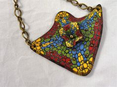 Polymer Clay Necklace made with Cobblestone Cane - Knightworkstudio ETSY