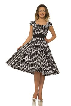 30343ca97f13 H and R hearts and Roses Of London Gwen Houndstooth Swing Dress Black 10 *  Click