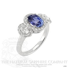 2.20 Ct. Oval Blue Sapphire Ring in 14K White Gold