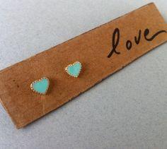 Turquoise Heart Earrings Gold Heart Studs Heart by NewYork2LA, $12.99
