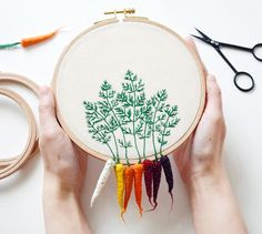 Munich-based artist Veselka Bulkan (previously) continues to craft these whimsical veggies that dangle from embroidery hoops. Each piece is an amalgam of embroidered leaves affixed to felted carrots, beets, radishes and other colorful roots. Bulkan sells many of her creations via her online shop, Li