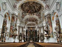 The Rococo Basilica at Ottobeuren (Bavaria): The  architectural spaces flow together and swarm with life.
