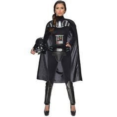 Star Wars Darth Vader Female Adult Bodysuit ($65) ❤ liked on Polyvore featuring costumes, halloween costumes, luke skywalker costume, star wars costumes, princess leia adult costume, anakin skywalker costume and adult halloween costumes