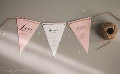 Geboortekaartje vlaggetjes Lise - Ontwerp Marjolein Vormgeving #roze #geboortekaartje #vlaggetjes #slinger #vlaggetjeskaart #geboorteslinger #geboorte #babygirl #meisje #newborn #kaartjes #jutetouw #geboortekaartjes #ontwerp #persoonlijk #opmaat #confetti