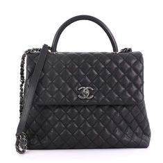 45606b7b804d Chanel Coco Handle Black Leather Handbag Chanel Coco Handle, Black Leather  Handbags, Black Leather