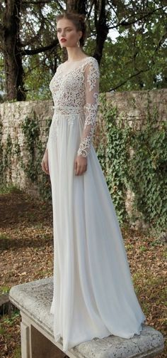 0a0c948a520579 Lace and Chiffon Wedding Dresses with Sleeves Kanten Lange Jurken