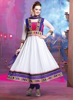 Adorable Off White and Purple Anarkali Suit