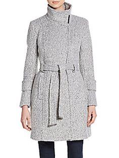 T-Tahari India Belted Wool-Blend Coat $140
