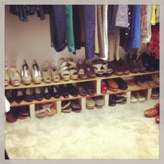 """Need to make 2 of these. One for my closet & one for Cameron's """"Tucker Up: DIY Shoe Rack"""" Shoe Rack Closet, Diy Shoe Rack, Shoe Storage, Shoe Racks For Closets, Storage Ideas, Diy Rack, Closet Shelves, Diy Wall Decor, Diy Home Decor"""