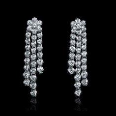 Diamond 18k white gold chandelier earrings gold chandelier 187ct diamond 18k white gold dangle earrings aloadofball Images
