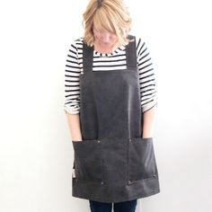 Brown Waxed Canvas Pullover Pinafore Apron with Large Pockets and Criss Cross Back for Artists, Gardeners, and Houseworkers.