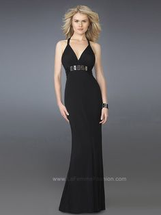 Deep V-Neck Black Floor Length Chiffon Prom Gown of Sparkling Band at Natural Waist
