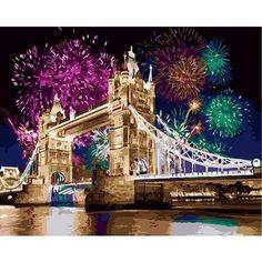 Painting Apron, Love Painting, Painting Frames, London Fireworks, Firework Painting, Bridge Painting, Acrylic Paint Set, London Bridge, Creative Activities