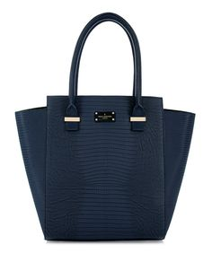 Paul's Boutique Mila structured Tote Bag in Navy Blue Snakeskin || Online now : www.paulsboutique... x #paulsboutique