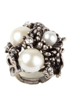 Ornate Cocktail Ring -  Beautiful Mix of Various Shapes and Forms, Intricate Metal Flower Detailing,  Pearl Infusion into the Interesting Shape, Adjustable & Easy to Wear, Sits Comfortably Around the Finger. - Rs. 499.00