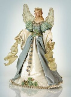 Melrose Christmas Traditions Elegant Blue and Cream Angel Tree Topper - Unlit Angel Christmas Tree Toppers Angel Christmas Tree Topper, Christmas Tree Tops, Blue Christmas, Christmas Angels, Beautiful Christmas, Christmas Ornaments, Christmas Ideas, Christmas Crafts, Merry Christmas
