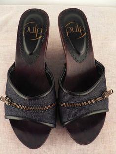 PULP WOMENS BLACK/BROWN DENIM SLIP-ON LADIES WOODEN PLATFORMS/WEDGES SIZE 7