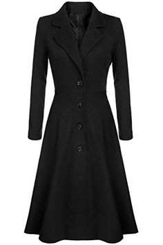 SALE PRICE - $69.88 - CNlinkco Long Trench Coat Women Extra Long Single Breasted Pea Coat Overcoat