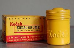 Vintage Yellow Kodak Film Canister Tin 1950s by SackLunchTime